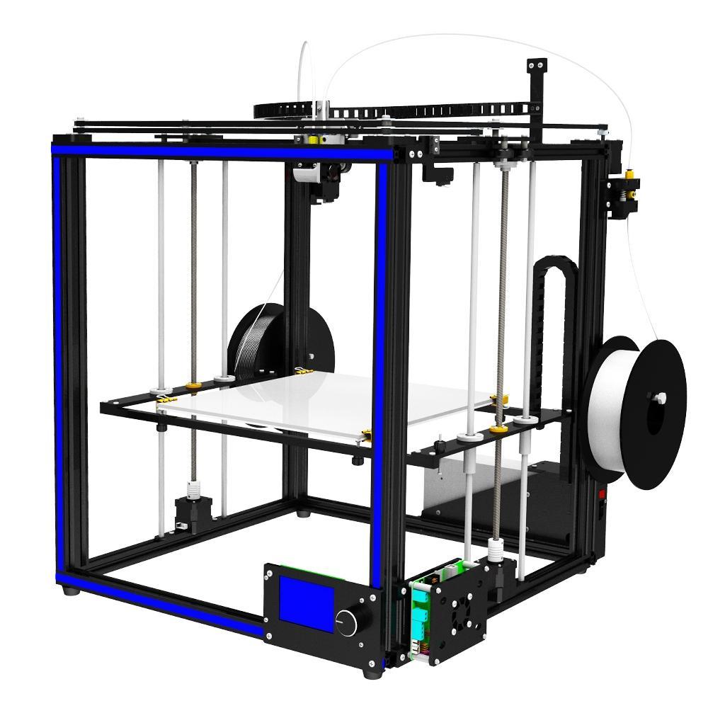 TRONXY® X5S-2E DIY Aluminio Impresora 3D 330 * 330 * 400mm Tamaño de impresión Soporte Individual / Dual / Color mixto con doble Z-eje Rod / Perilla Botón LCD Pantalla