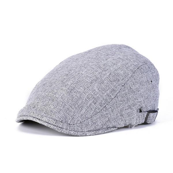 Men Linen Beret Hat Buckle Adjustable Paper Boy Newsboy Cabbie Golf  Gentleman Cap COD 12b6f6692b49