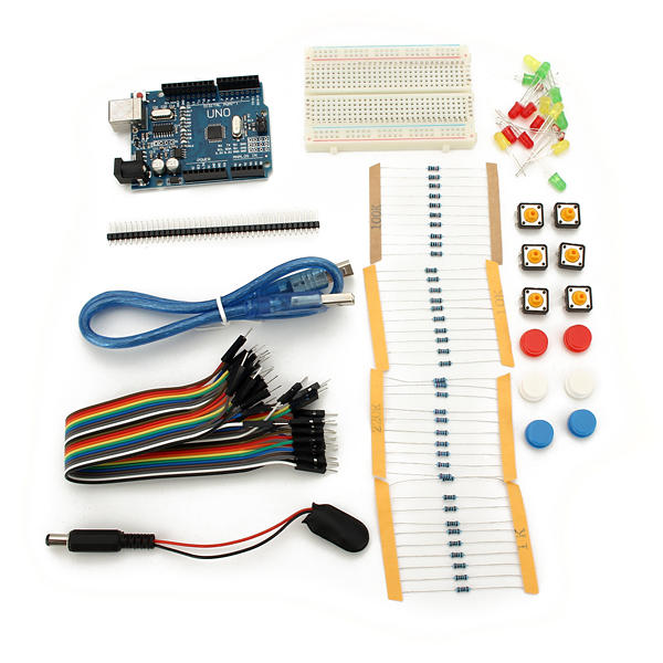 Basic Starter Kit For For Uno R3 Breadboard Jumper Wire Led Lights Usb Cable Resistor Reference Kit For Demo Board Accessories Case