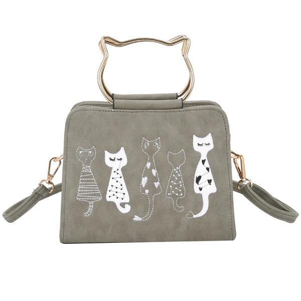 المرأة بو الجلود الحيوان الكرتون القط جميل خمر حقيبة الكتف حقيبة كروسبودي