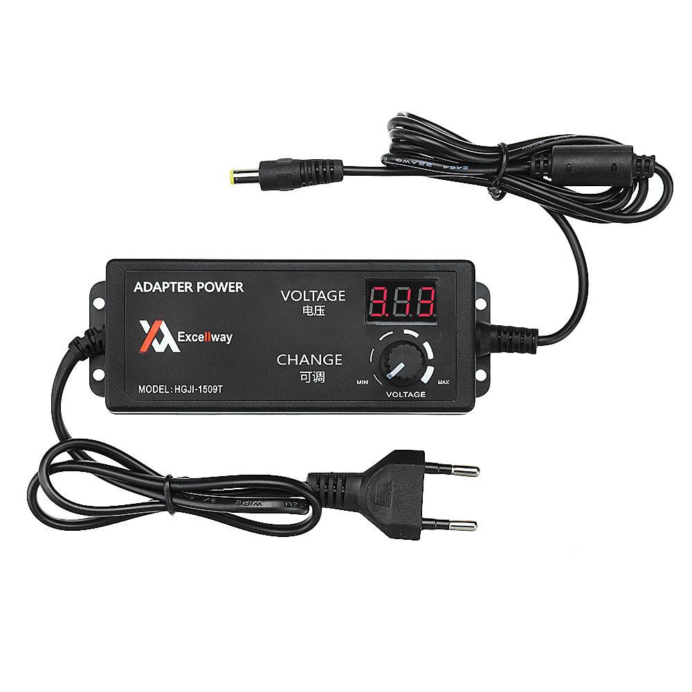 Excellway® 4-24V 2.5A 60W AC/DC Alimentation d'Adaptateur de Puissance Réglable EU Prise Contrôle de Vitesse Affichage de Tension