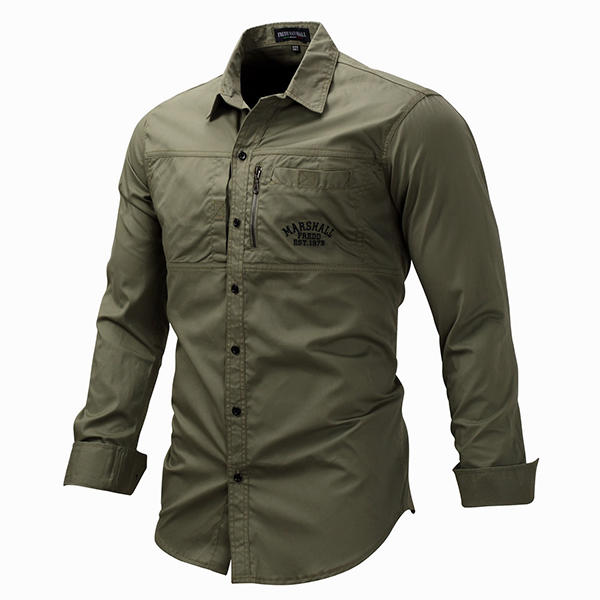489ad79e786 Outdoor Military Style Chest Zipper Pocket Long Sleeve Lapel Cotton Work  Shirt for Men COD