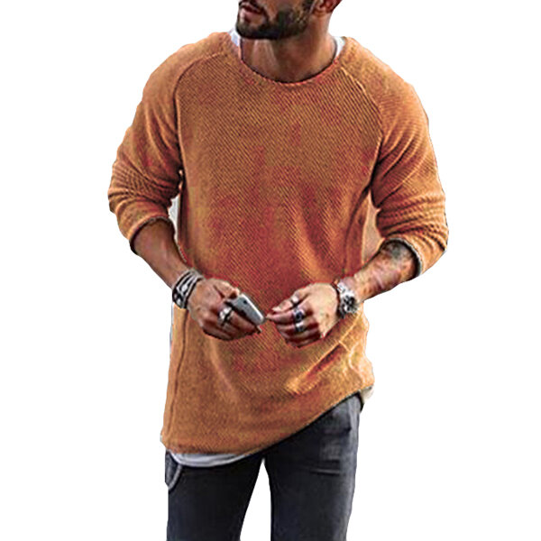 Fashion Men's Knitting Solid Color O-Neck T-shirt Long-Sleeved Regular Fit Casual T-shirts