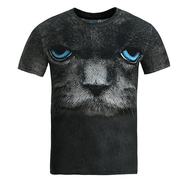 4411464a Fashion Creative Printing 3D Animal T-shirt Men's Leisure Short Sleeve T- shirt COD