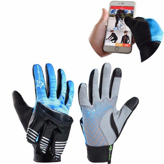 ROCKBROS Winter Waterproof Full Finger Touch Scree Fietshandschoenen Met Regenhoes Stripe Style Fiets MTB Road Bike Sports Mittens