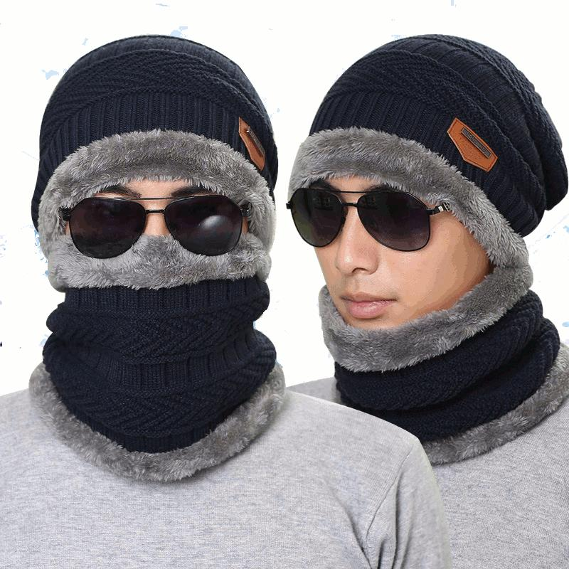 0c61bffbe4d Knitted Hat Scarf Cap Neck Warmer Winter Hats For Men Women Skullies  Beanies Fleece COD