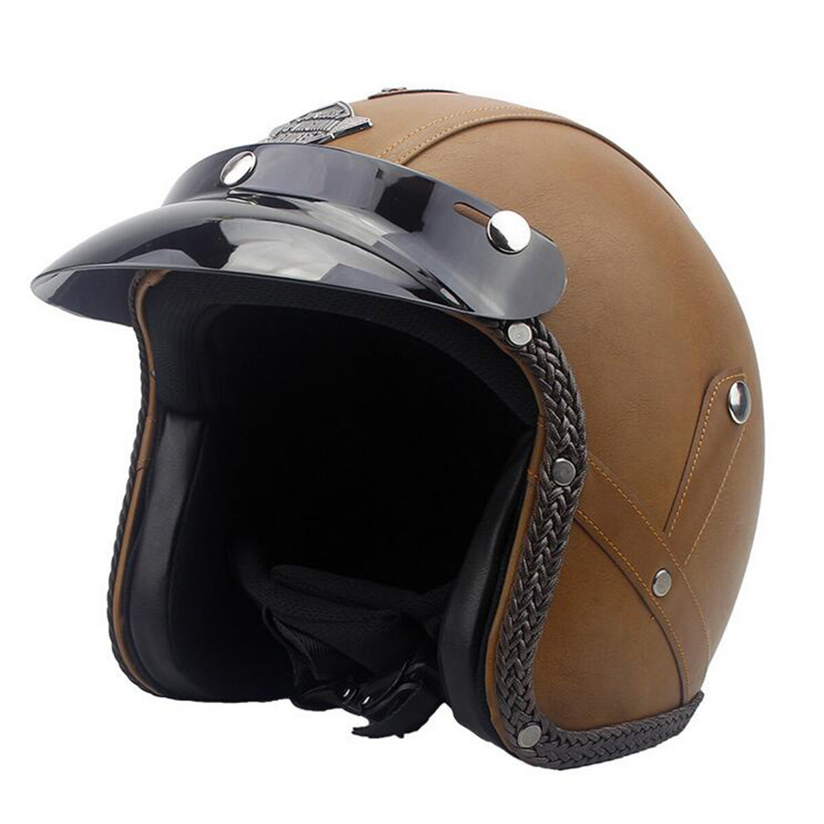 DOT 3/4 Visage Cuir Vintage Casque De Moto Moto Scooter Crash Visor ML XL