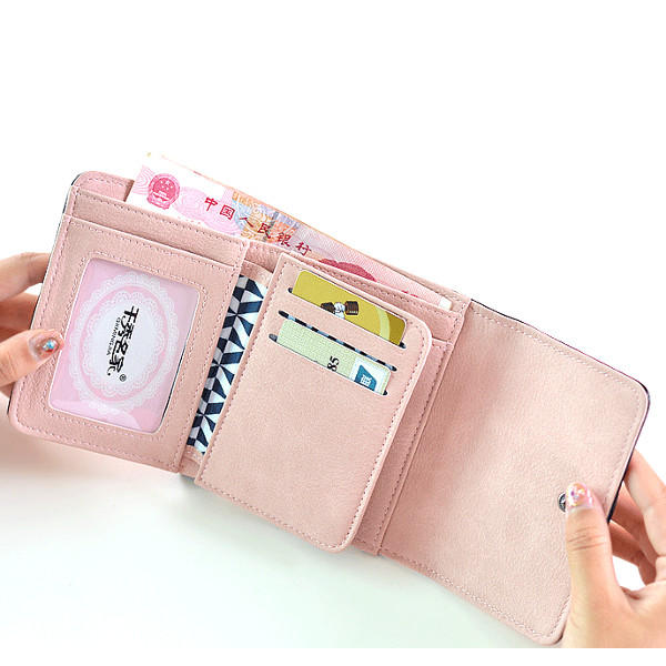 Vrouwen Bowknot Hasp Wallets 3 Gevouwen Korte Purse Card Holder Coin Bags