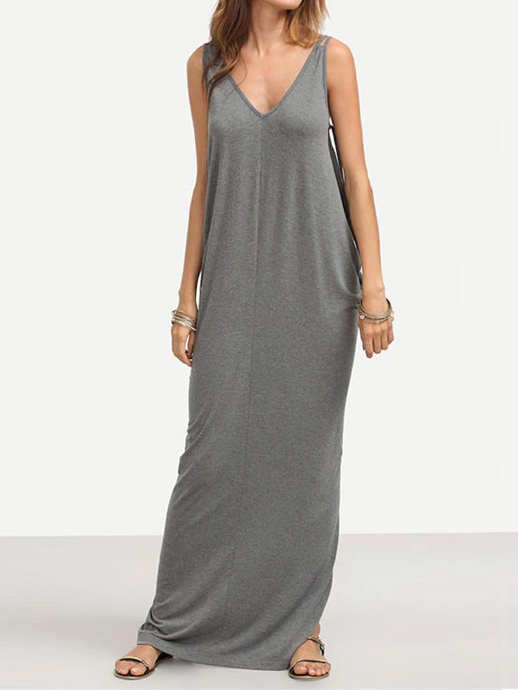 0d76d184462 ZANZEA Fashion Women Spaghetti Strap Backless Casual Maxi Dresses - Gray S  COD