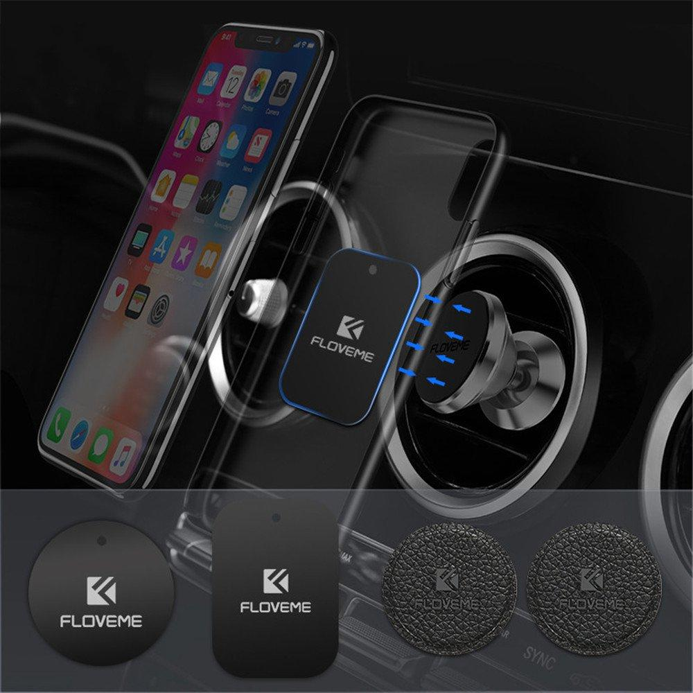 Floveme 2PCS Ultra-thin Leather Metal Plate Car Mount Accessory for Magnetic Phone Holder