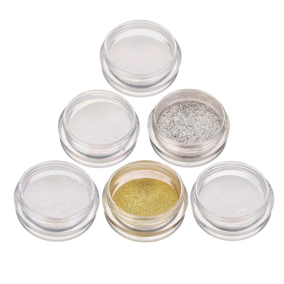 6 Colori Brillante Metallico Chiodo Polvere Brillare Paillettes luccicanti Cromo Polvere Pigment Manicure