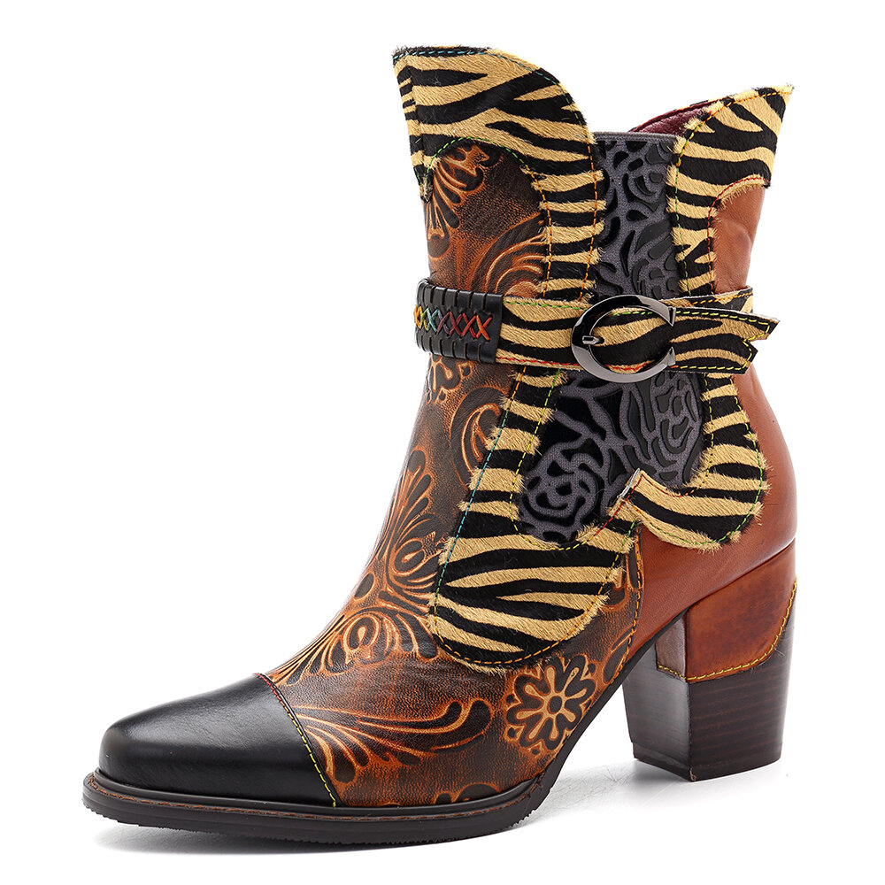 SOCOFY Handmade Genuine Leather Splicing Pattern Zipper Ankle Boots