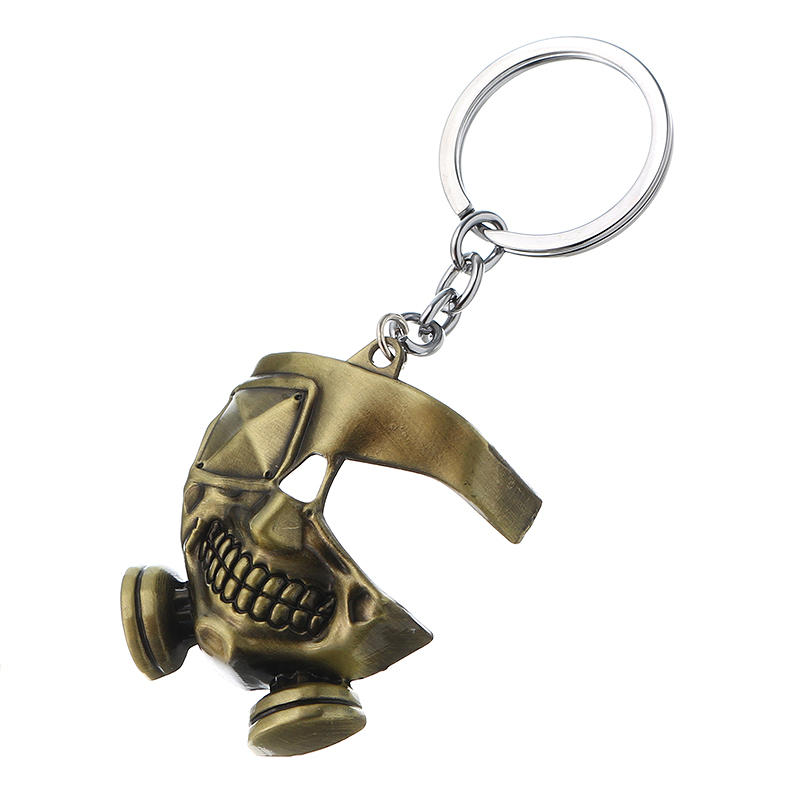 Cool Tokyo Ghoul Metal Mask Keychain Japanese Anime Pendant Key Ring Halloween