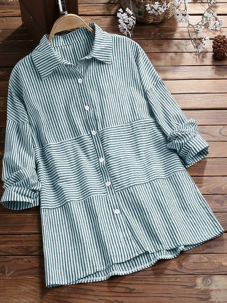 Casual Striped Lapel Button Blouse for Women