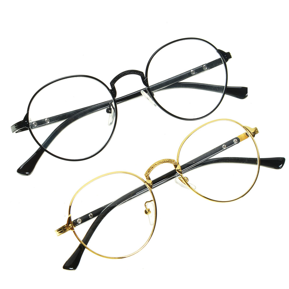 2053bc15936 women retro oval gold full rim eyeglass men frames plain clear spectacle  glass at Banggood sold out
