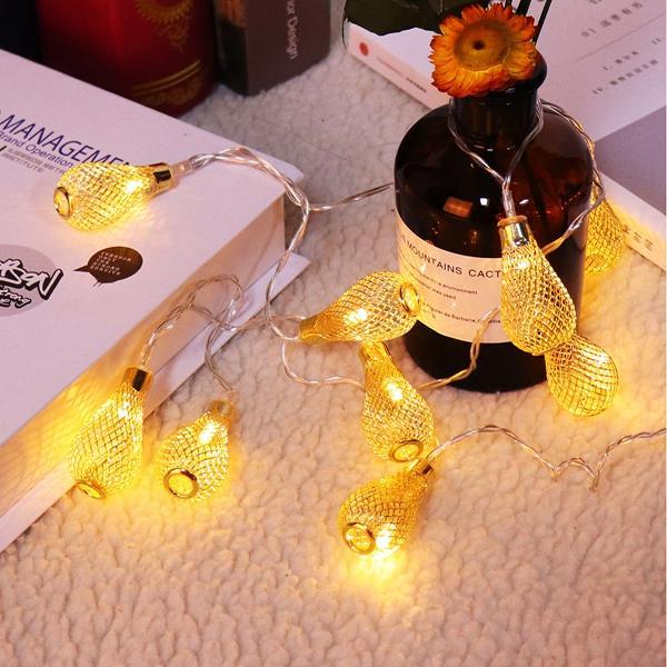 バッテリー駆動1.4M 10LEDs防水鉄メッシュクリスマスパティオの涙の妖精の文字列ライト