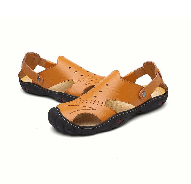 b70cdace25a8 Men Summer Hollow Out Business Leather Cowhide Leather Soft Flat Breathable Casual  Sandals Shoes COD