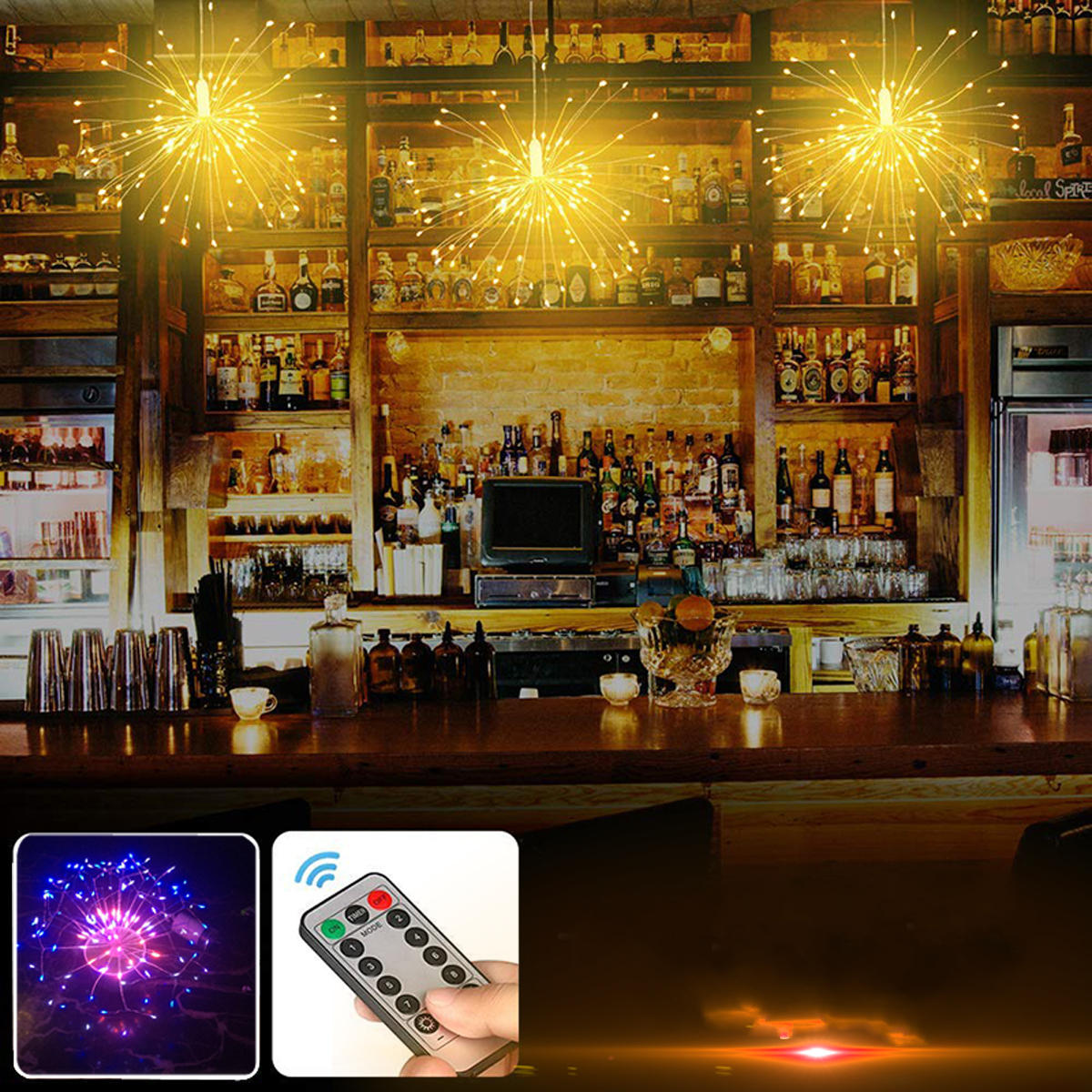 Battery And USB Powered Waterproof 8 Modes 120LED Starburst Sliver Wire String Light Party Home Decor