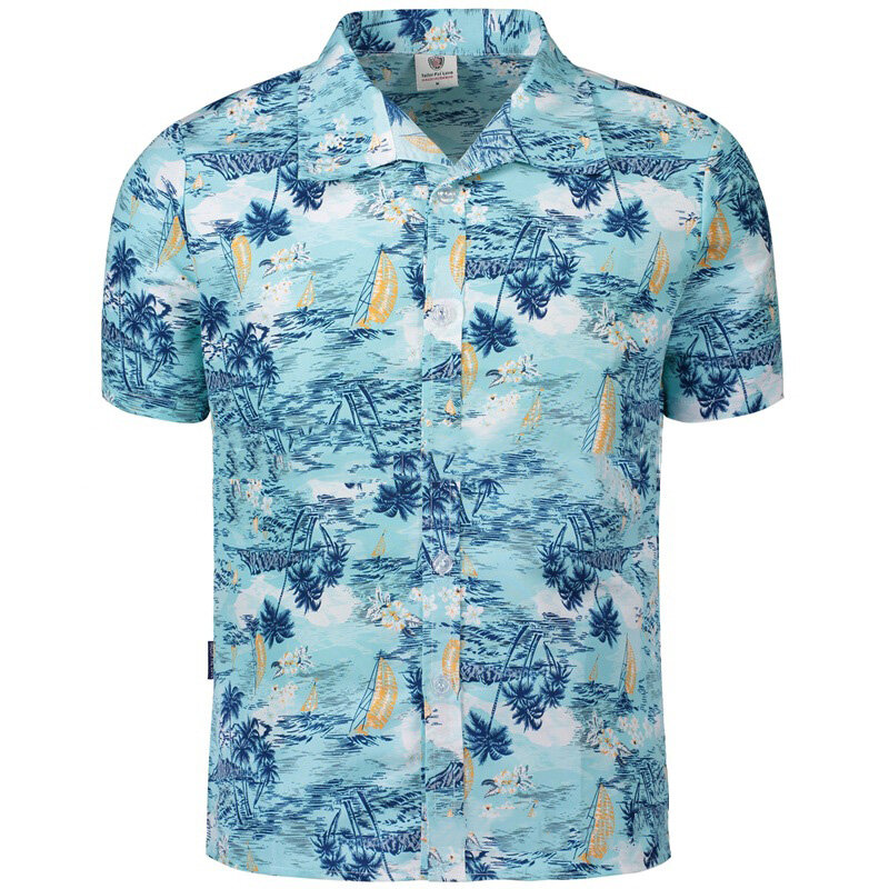 Mens Hawaiian Style Coconut Tree Printing Snabbtorkande Beach Shirts