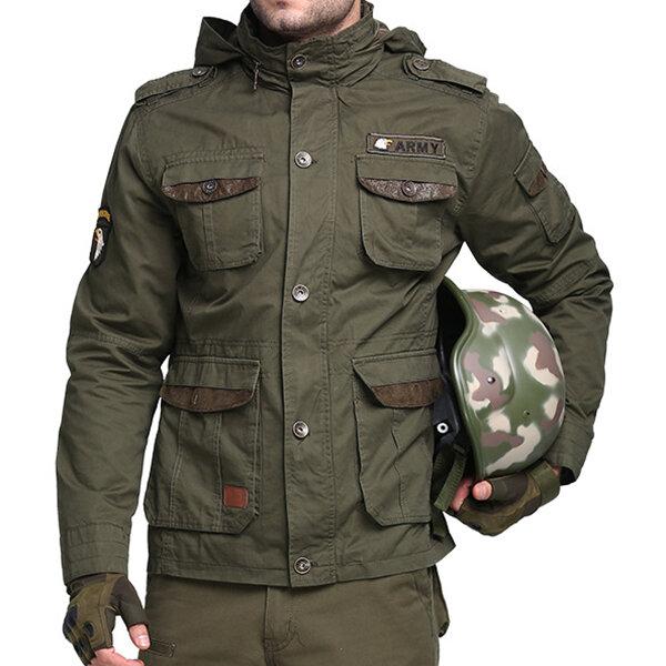 Ejército táctico militar Estilo Multi bolsillos Stand Collar desmontable Hood al aire libre Chaquetas para hombres