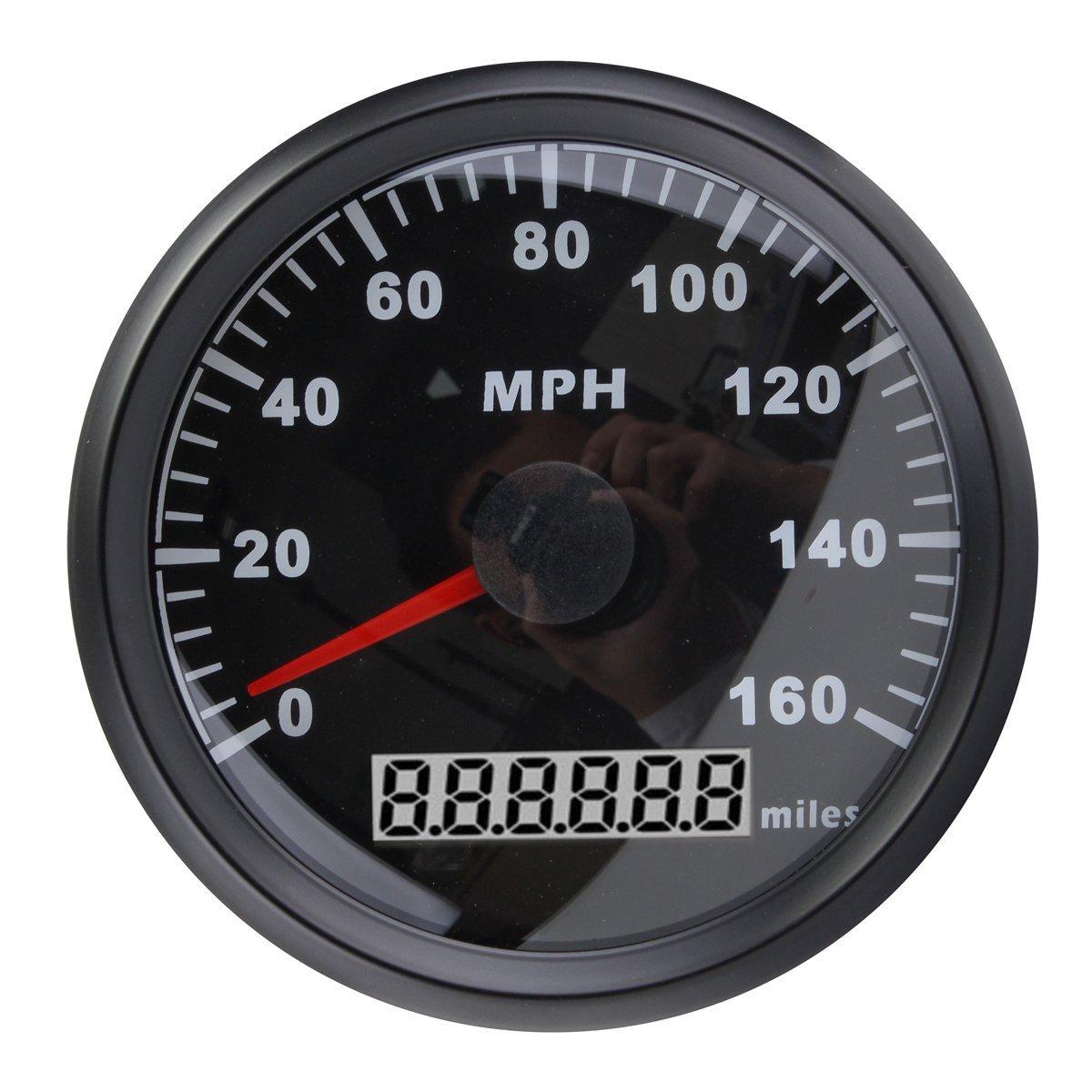 85MM svart rostfritt stål GPS hastighetsmätare 0-160MPH för bil lastbil motorcykel