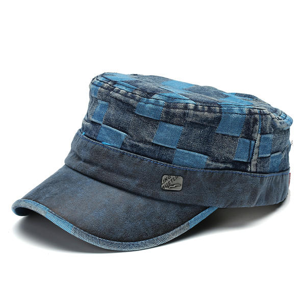mens women vintage washed denim flat cap outdoor casual military ... 86125ec2d50