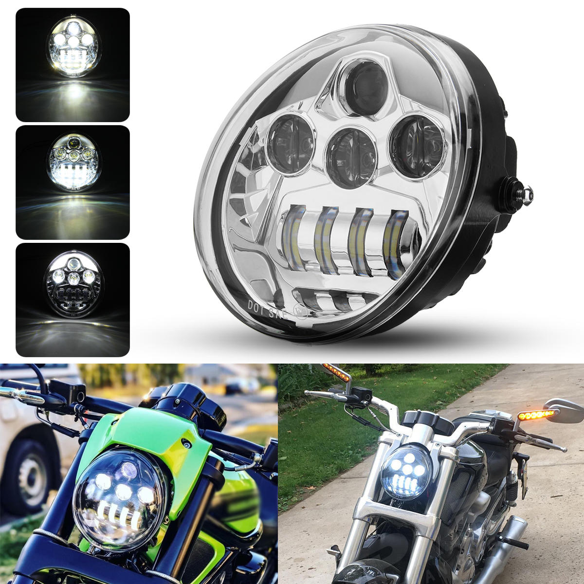 Dot 60w Motorcycle Led Headlights Hi Lo Beam Drl For Harley Davidson