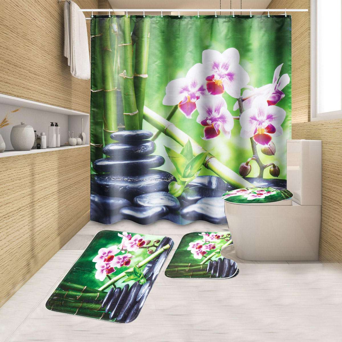 180x180CM Bamboo Pebble Orchid Toilet Rug Mat Bathroom Shower Curtain with Hooks