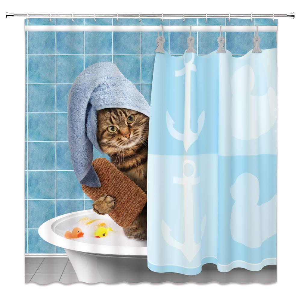Cat Bathing Bathroom Shower Curtain Waterproof Fabric With 12 Hooks