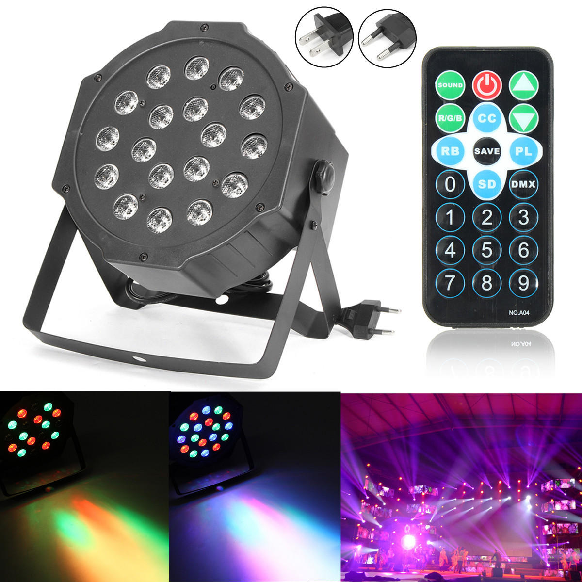 18W RGB LED Stage Light DMX Par CAN DJ Disco Uplighter Strobe Lighting