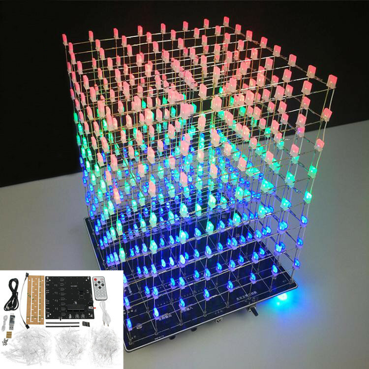 3d 8x8x8 Square Diy Led Blue Light Cube Kit Mp3 Music Spectrum Light Cube Circuits
