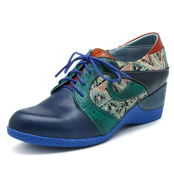 efcad23d6a4281 socofy jacquard zipper wedges heel leather shoes at Banggood sold out