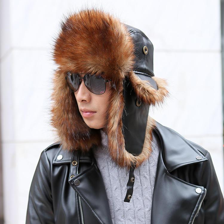 Berretto da cowboy in pelle di alta qualità, caldo e di alta qualità, con cappuccio Capelli Cappellino antiurto