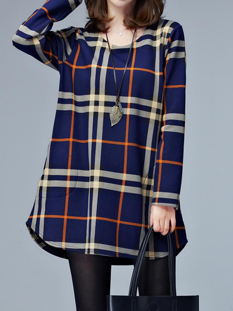 Donne casuali o-collo tasche plaid stampato abiti a maniche lunghe