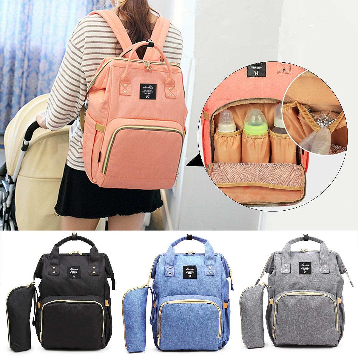 8006694509 mummy maternity nappy bag large capacity outdoor travel backpack nursing bag  for baby care Sale - Banggood.com sold out