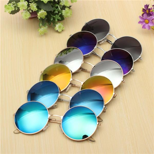 efb8a05f6c Women Men Retro Large Round Metal Frame Sunglasses Men Color Film Glasses  COD