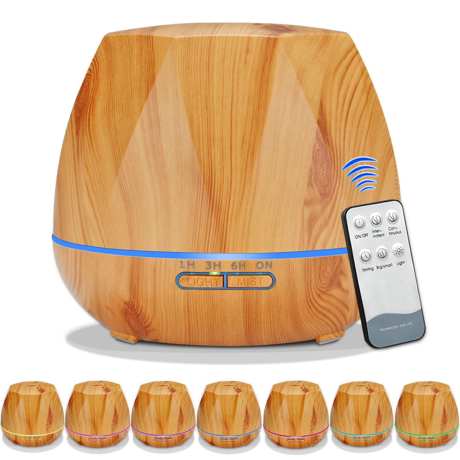 Wood Grain Rhombus Ultrasonic Air Humidifier Aroma Essential Oil Diffuser Aromatherapy Atomizer