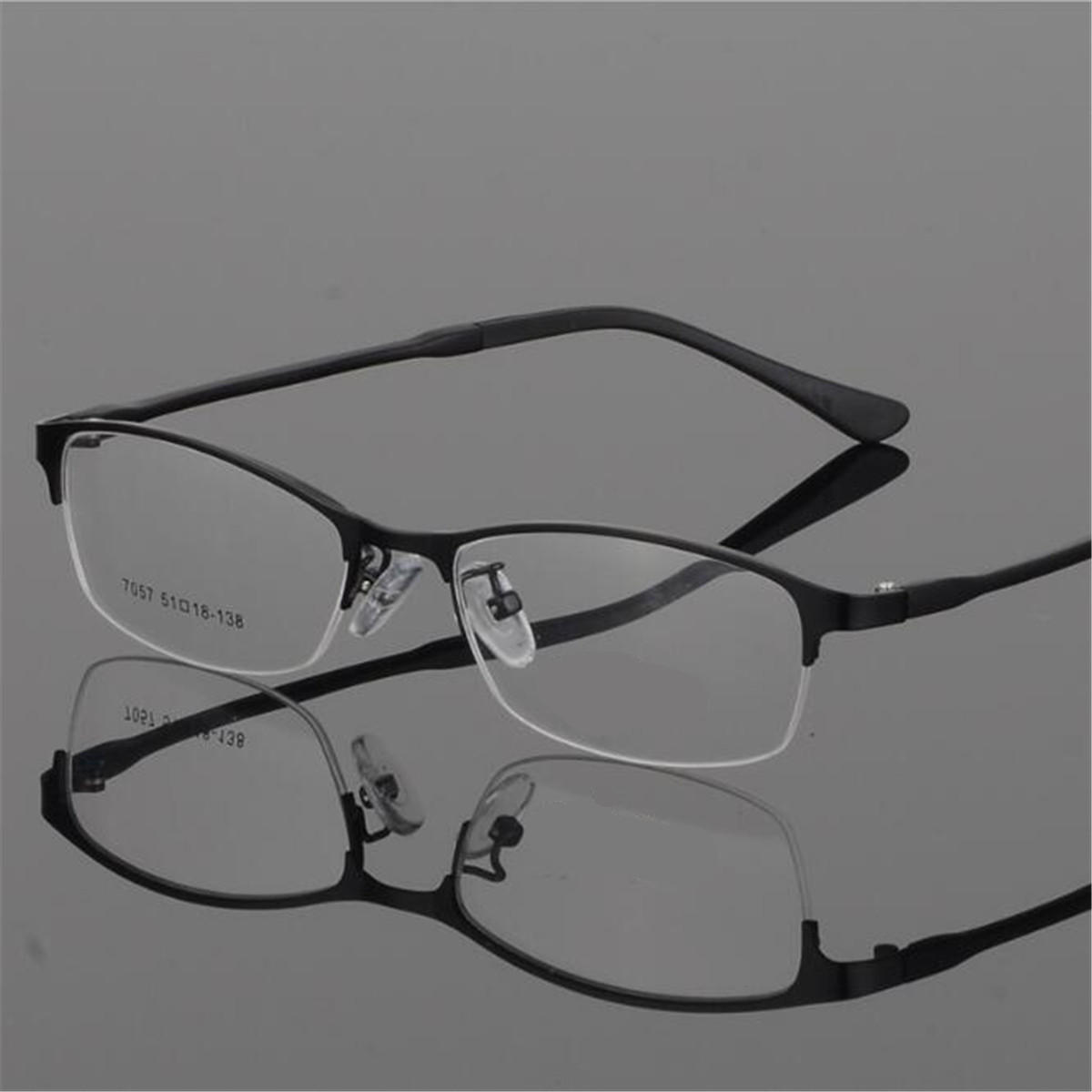 68123d013a Eye Glasses Half Rimless Glasses Frame Eyeglasses Clear Lens Metal TR90  Optical Glasses RX Spectacles COD