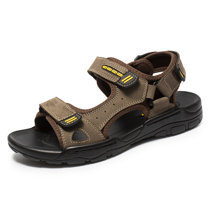 Men Soft Genuine Leather Beach Casual Daily Sandals
