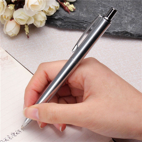 BAOER 37 Ballpoint Pen Stainless Steel Push Metal Silver Trim Black Ink