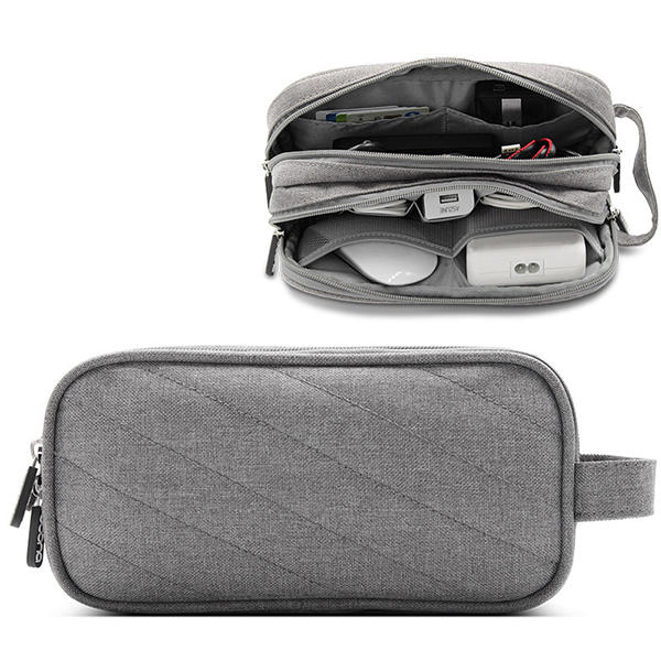 Men Women Multifunction Earphone Charging Wire Portable Power Source Double Zippers Storage Bag