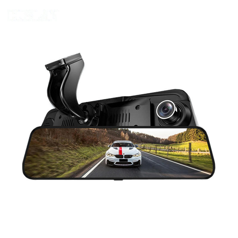 10 Inch 1080P Touch Screen Dual Lens Car Rearview Mirror DVR Safety Driving Camera COD