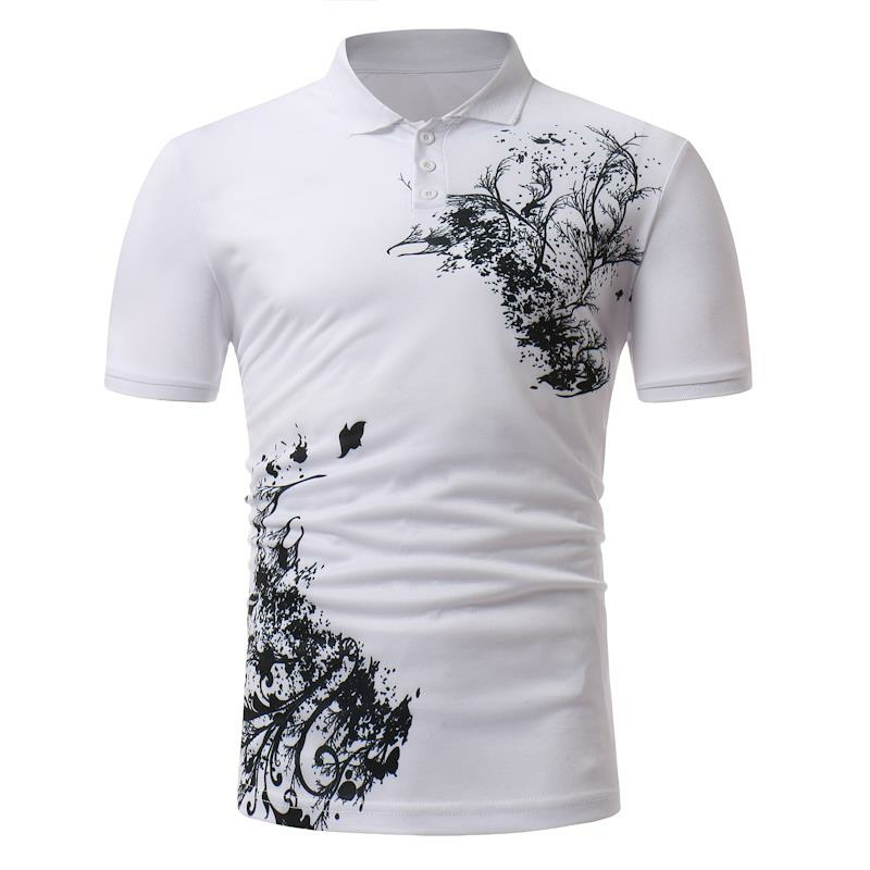 586629c7d77 Men s Classic Black White Printing Short-sleeved Golf Shirt Casual  Breathable Tops Tees COD
