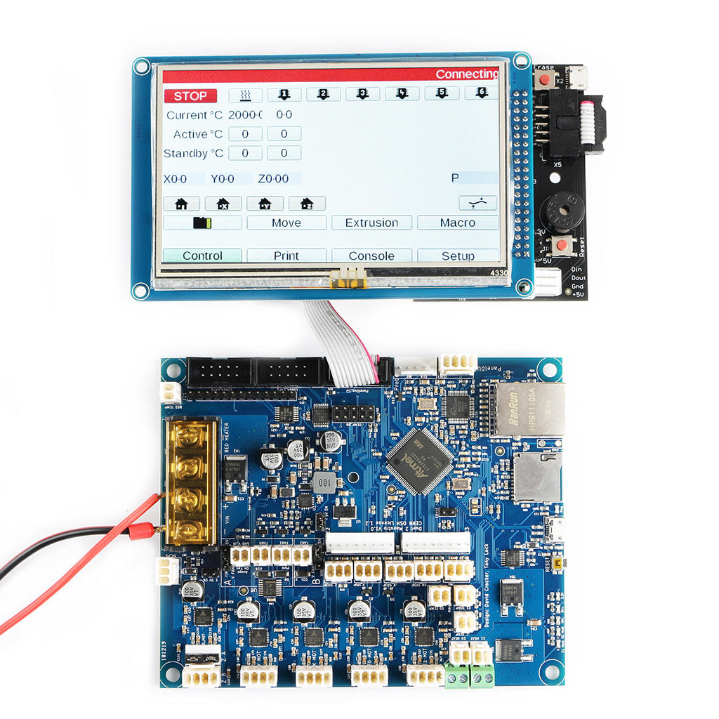 Cloned Duet 2 Maestro Advanced 32bit Motherboard Mainboard With 4.3inch PanelDue Touch Screen Controller For 3D Printer CNC Machine