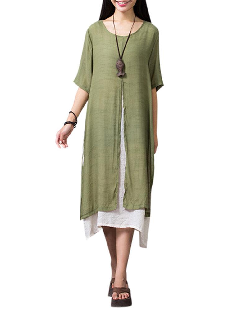 Vintage Casual False Two Pieces Linen Slit Maxi Dress For Women