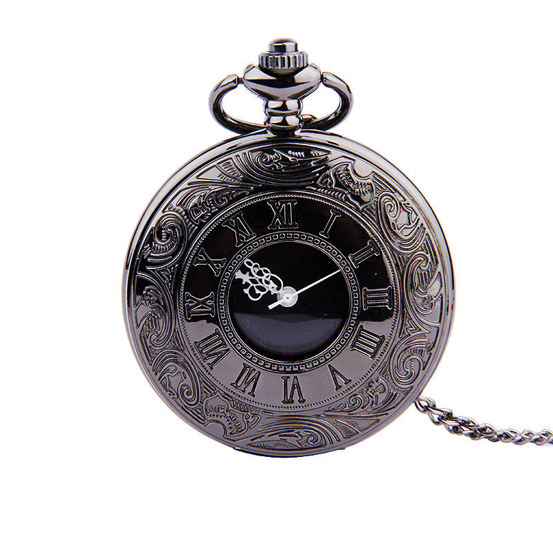 Deffrun Retro Style Men Women Watch Roman Scale Black Face White Needle Pocket Watch