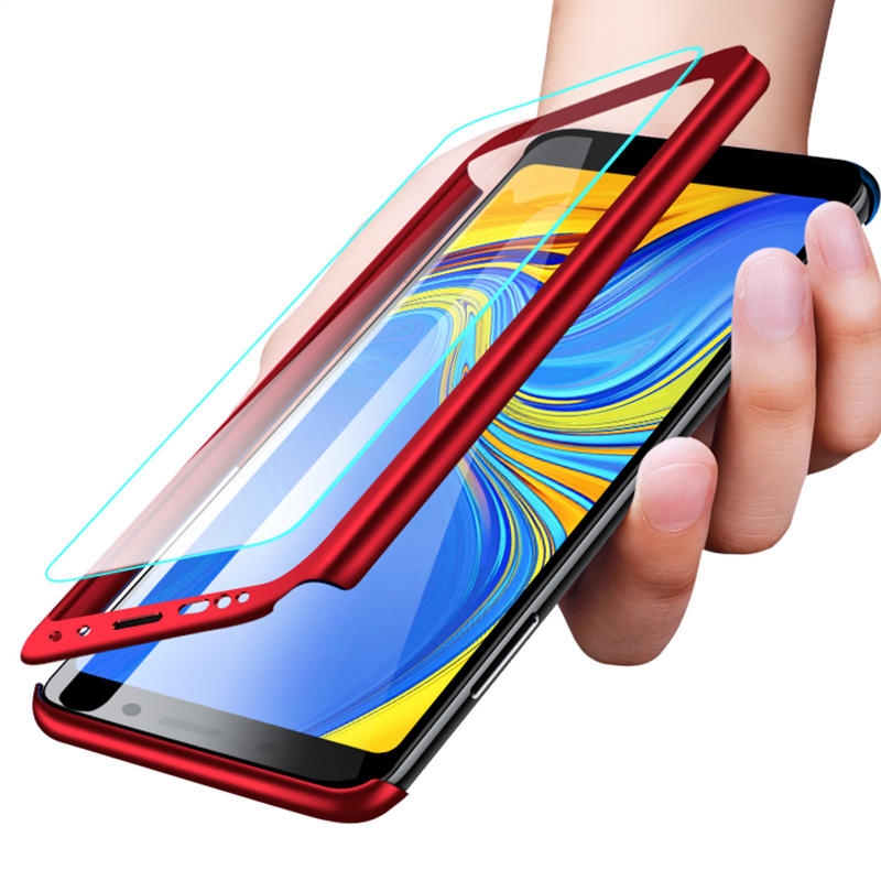 Bakeey 360° Full Body PC Front+Back Cover Protective Case With Screen Protector For Samsung Galaxy A9 2018/A7 2018/A8 2018/A8 Plus 2018