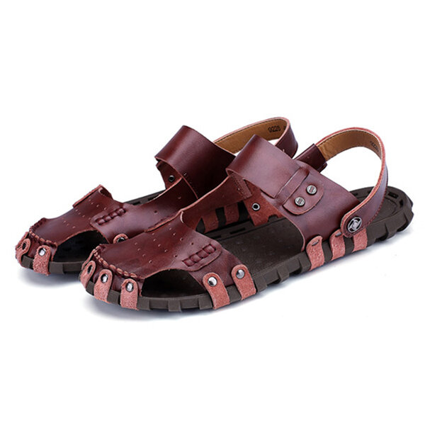 c8a686cddcb Comfy Men Casual Buckle Stitching Hollow Outs Leather Sandals Shoes COD