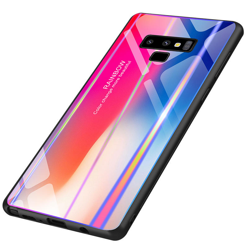 Bakeey Rainbow Gradient Color Tempered Glass Back Cover+TPU Frame Protective Case For Samsung Galaxy Note 9/S9/S9 Plus