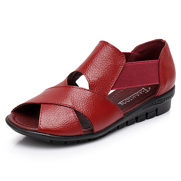 2a848404e8f Women Genuine Leather Hollow Out Shoe Breathable Casual Flat Sandals COD